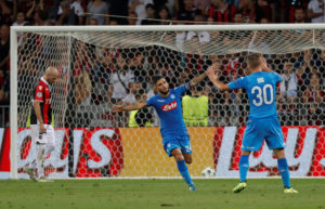 Soccer Football - Champions League Playoffs - Nice v Napoli - Nice, France - August 22, 2017     Napoli's Lorenzo Insigne celebrates scoring their second goal    REUTERS/Eric Gaillard