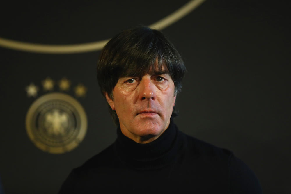 MAINZ, GERMANY - OCTOBER 07: Joachim Loew, head coach of Germany talks to the media during a DFB Press Conference at Hotel Hyatt Regency Mainz ahead of their FIFA 2018 World Cup Group C against Azerbaijan on October 7, 2017 in Mainz, Germany. (Photo by Alexander Hassenstein/Bongarts/Getty Images)