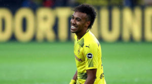 DORTMUND, GERMANY - SEPTEMBER 17:  Pierre Emerick Aubameyang of Dortmund reacts during the Bundesliga match between Borussia Dortmund and 1. FC Koeln at Signal Iduna Park on September 17, 2017 in Dortmund, Germany.  (Photo by Martin Rose/Bongarts/Getty Images)